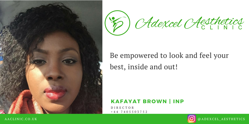 find out more about adexcel aesthetics clinic and director kafayat brown